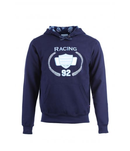 Sweat Capuche Zipé Marine All over logo ciel