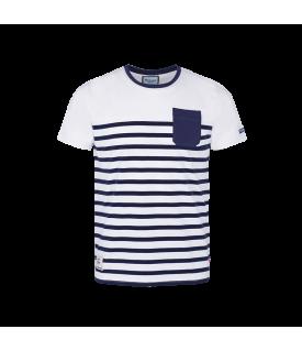 T-Shirt MC Homme Marinière Blanc Marine Racing 92