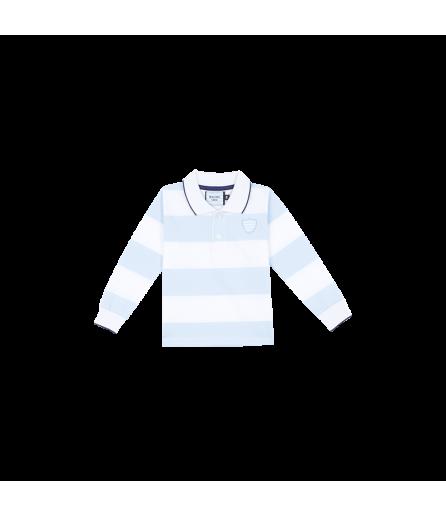Polo ML FRANKIE Jersey Rayé Ciel et Blanc