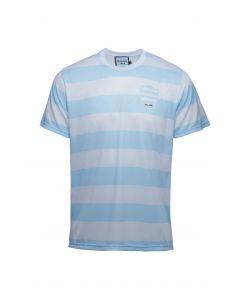 T-Shirt Sublimé Rayé Ciel et Blanc..