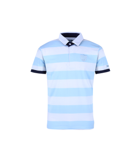 Polo MC Homme James Ciel et Blanc Racing 92